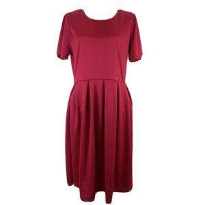 Lularoe Amelia Dress Short Sleeve Solid Pink Scoop
